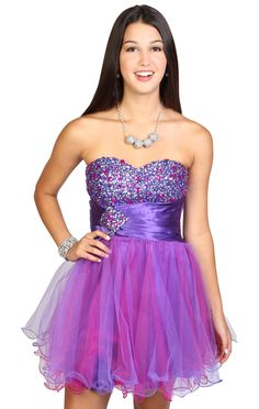 chunky stone and beaded strapless fit and flare skater homecoming dress
