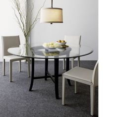 """Halo Ebony Dining Table with 60"""" Glass Top  