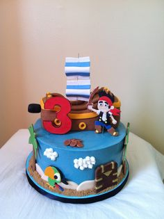 Brilliant Photo of Jake And The Neverland Pirates Birthday Cake . Jake And The Neverland Pirates Birthday Cake Jake And The Neverland Pirates Cake Cakecentral Jake Cake, Cupcakes, Cupcake Cakes, Cake Fondant, Pirate Birthday Cake, Birthday Cakes, 3rd Birthday, Birthday Ideas, Treasure Chest Cake