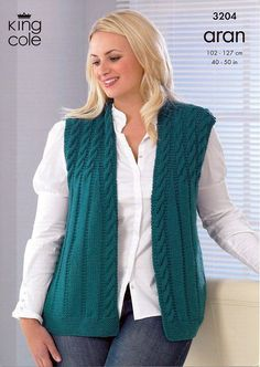 Jacket and Waistcoat in King Cole Merino Blend Aran – 3204 - Knitting Crochet Baby Knitting Patterns, Knitting Designs, Free Knitting, Knit Vest Pattern, Knit Crochet, Jackets For Women, Plus Size, King Cole, Detail King