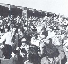 Oregon basketball player Greg Ballard greets fans at the Eugene Airport after Oregon defeated UCLA in Los Angeles 1976. From the 1976 Oregana (University of Oregon yearbook). www.CampusAttic.com