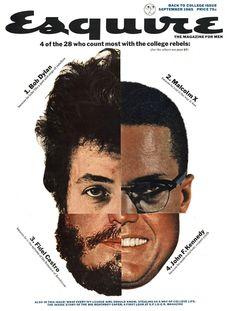 Bob Dylan, Malcolm X, Fidel Castro and John F. Esquire magazine cover by George Lois, September 1965 What Is Fashion Designing, Magazin Design, Fidel Castro, Design Blog, Design Layouts, Book Design, Design Design, Print Design, Cultura Pop
