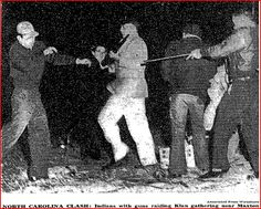 January 1958 - A planned gathering of the KKK near Maxton, NC, in Robeson County, ends in a rout as armed Lumbee Indians charge the gathering, sending klansmen and their families fleeing in a panic. No one was killed or seriously wounded, but the Lumbee captured a large cache of banners, robes, and propaganda material that they burned publicly.