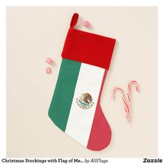 Christmas Stockings with Flag of Mexico - christmas stockings merry xmas cyo family gifts presents Classy Christmas, Cozy Christmas, Beautiful Christmas, Unique Christmas Stockings, Creative Christmas Trees, Mexico Christmas, Mexico Holidays, Amazing Pumpkin Carving, Mexico Flag