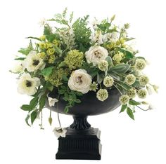 Natural arrangement made in a metal urn - cost from each (we could use a green double lisianthus rather than the white in this picture which would look pretty) Green Hydrangea Wedding, Floral Wedding, Wedding Flowers, Green Centerpieces, Wedding Centerpieces, Wedding Arrangements, Floral Arrangements, White Flowers, Beautiful Flowers