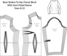 Basic Hip Length Bodice and Sleeve Pattern Block - Laura Marsh Sewing Patterns
