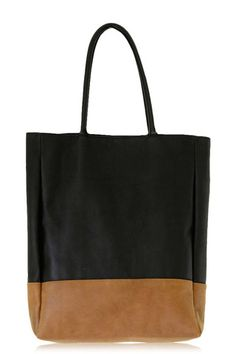 black + tan leather tote.