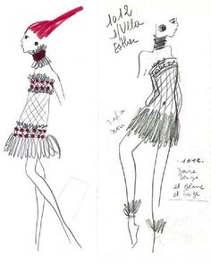 93569db5202 1967 - YSL Bambara collection dress sketch Saint Laurent Paris