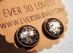 shooting stars black and metallic silver starry night earrings by eversolovely