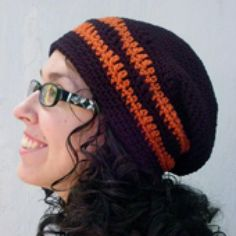 Crochet Hip Headwear with These Slouchy Hat Patterns: Two-Color Slouch Hat Pattern in 2 Sizes