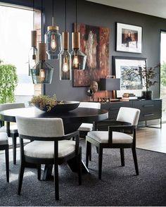 Home Decoration For Ganpati Black Round Dining Table, Grey Dining Tables, Dining Table Lighting, Dining Room Table, Dining Room Furniture, Wood Tables, Plywood Furniture, Dining Set, Cosy Decor