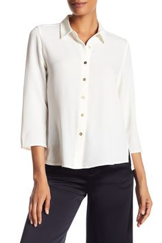 3/4 Length Sleeve Button Side Slit Shirt by Catherine Catherine Malandrino on @nordstrom_rack