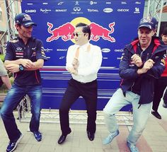 Safe travels to all the teams who are making their way to Korea today! Long trip! #KoreanGP #grandPrix #F1 #formula1 #racing // Photo: Red bull Racing #RBR #Gangnam style at the Korean F1 GP 2012