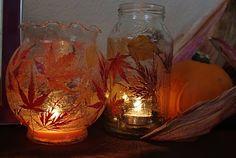 find old glass, spaghetti jar, canning jar,  or fish bowl $1 dollar tree  grab Mod Podge apply leaf and paint to outside of jar and get creative can use flowers etc. ... add flameless or real candle....great site to check out I might add