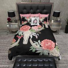 Flower and Steer Bull Cow Skull Duvet Bedding Sets
