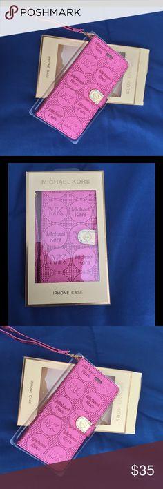 Michael Kors ROSE PINK IPHONE 6 PLUS case New Michael Kors iPhone 6 PLUS PHONE WRISLET CASE WITH 2 Card slot  Michael Kors Accessories Phone Cases