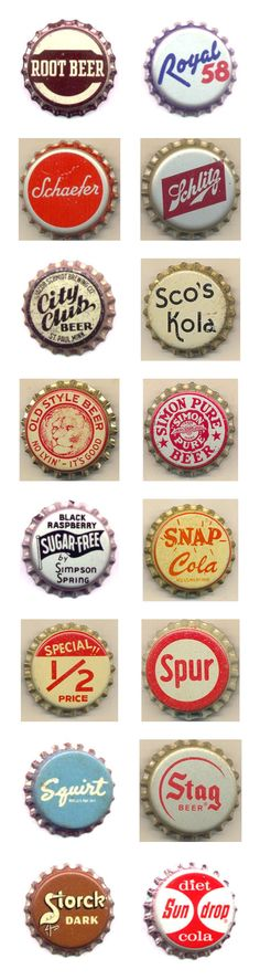Reminds me of my youth when a friend of mine in St. Joseph MI use to hunt for them. Vintage Packaging, Vintage Labels, Retro Design, Vintage Designs, Stag Beer, Typography Inspiration, Design Inspiration, Beer Caps, Badge Design