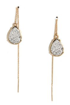 "If you like a little bit of sparkle, you'll love the the Mica Me Crazy Silver and Gold Threader Earrings! Luminous silver flecks form teardrop-shaped gems that dangle from delicate gold chain, creating a cool threaded look. Earrings measure 4.5"" long. Man made materials. Imported."