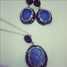 Sparkle with Blue drusy quartz & cubic zirconia Saint Tropez earrings & necklace. Saint Tropez, Shades Of Blue, Quartz, Sparkle, Pendant Necklace, Earrings, Jewelry, Ear Rings, Stud Earrings
