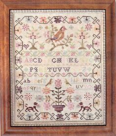 """Pink Sparrow Sampler"" by Country Stitches"