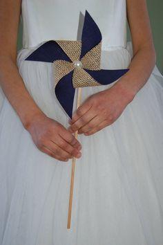 Navy Blue Rustic Burlap Pinwheel Wedding Decoration by SewSoapy