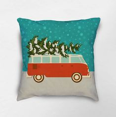 Christmas Pillow Holiday Pillows Christmas Decor Retro