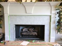 How to Add Herringbone Marble Tile to a Fireplace - Southern Hospitality Southern Sayings, Southern Girls, Southern Living, Tile Around Fireplace, Fireplace Surrounds, Fireplace Ideas, Granite Tile, Marble Tiles, Country Girl Quotes