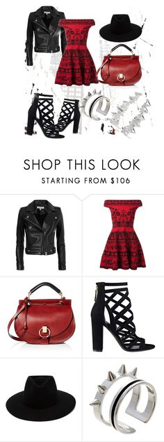 """red one"" by dogca ❤ liked on Polyvore featuring IRO, Alexander McQueen, Chloé, GUESS, rag & bone, Maria Francesca Pepe and Noir Jewelry"