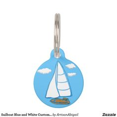 Sailboat Blue and White Custom Round Pet Tag; Abigail Davidson Art; All tags are ready to customize on the back with your pet's name and your phone number!