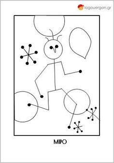 Τα παιδικά σχήματα και χρώματα του Ζουάν Μιρό Colouring Pages, Coloring Books, School Projects, Art Projects, Pop Art, Letters And Numbers, Art Plastique, Artist Art, Doodle Art