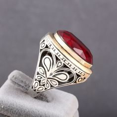 Turkish Handmade Men's Ring Ottoman Motif Red Ruby 925 Sterling Silver Size 8-12