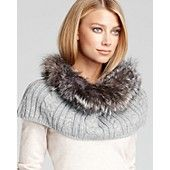 Surell Fox Trimmed Cable Knit Loop Scarf