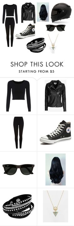 """Assassin-Biking Uniform"" by lilac-halo ❤ liked on Polyvore featuring IRO, River Island, Converse, Ray-Ban and ASOS"