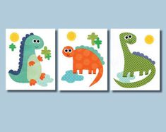 Dinosaur Nursery Artwork Print // Baby Room Decoration // Kids Room Decoration // Gifts Under 20 dino art work wall art kids dino theme Dinosaur Room Decor, Dinosaur Nursery, Baby Room Colors, Baby Room Decor, Nursery Artwork, Baby Dinosaurs, Baby Boy Nurseries, Baby Prints, Baby Boy Shower