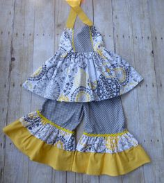 Girls sundress top and ruffled pants set by EmelineDesign on Etsy