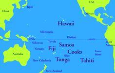 Map of the Islands of the South Pacific Pacific City, South Pacific, Pacific Ocean, Fiji Islands, Cook Islands, Bora Bora Map, Fiji Travel, Polynesian Islands, Island Map