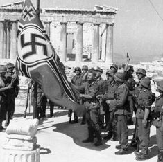 Nazi soldiers hoist the swastika over the Athens Acropolis, 1941 Luftwaffe, Future Of Science, Invasion Of Poland, Athens Acropolis, Athens Greece, Captain Corellis Mandolin, Religion, Italian Army, Greek History