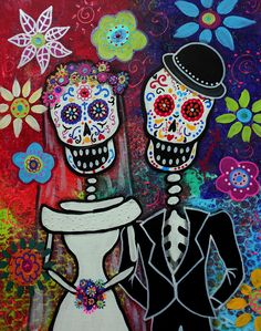 Folk Art Mexican Day Of The Dead Wedding Couple Dia De Los Muertos Original Painting