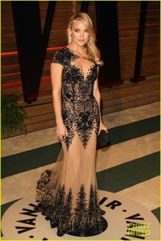 2014 New Sheer Appliques Kate Hudson Changes Into New Dress For Vanity Fair Oscars Party Celebrity Dresses