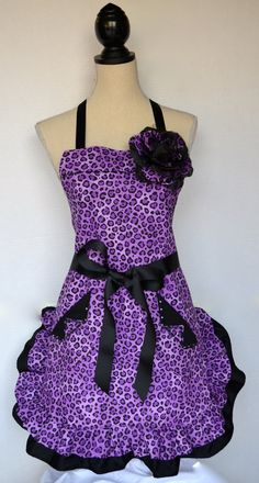 Purple Leopard Print Full Womens Double Ruffle by OliviabyDesign, $34.95 #womens apron #retro apron #purple apron