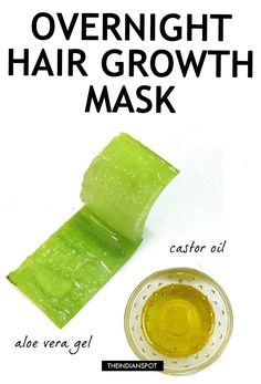 Aloe vera is not good for health but it also contained all nutrients that are great for hair. Use above aloe vera hair mask and get rid of damage hair. Belleza Diy, Tips Belleza, Aloe Vera Haar Maske, Overnight Hair Growth, Overnight Hair Mask, Best Diy Hair Mask, Diy Mask, Diy Hair Treatment, Hair Growth Treatment