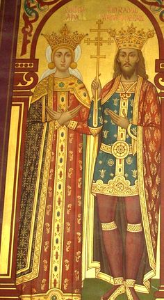 Radul (Negru) Voivode with his wife Ana. Painting from the Curtea de Argeş Monastery.