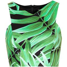 TOPSHOP Leaf Print Cutaway Crop Top (€21) ❤ liked on Polyvore featuring tops, crop tops, shirts, tanks, green, green shirt, polyester shirt, polyester crop tops, green crop top and topshop