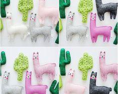 Cactus and llama llama gifts alpaca plush llama nursery Llama Plush, Llama Llama, Alpaca Toy, Wool Felt Fabric, Pastel Nursery, Llama Gifts, Llama Birthday, Baby Shower Party Favors, Baby Decor