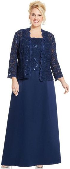 Alex Evenings Plus Size Sequin Lace Gown And Jacket in Blue (Navy)