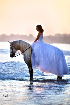 and in the very next second, Chantee sees a paper bag flying down the beach, jumps sideways a mile, dumps her rider mostly off, and runs a 1/4 mile down the beach dragging a wet, white dress through the sand -- real life.