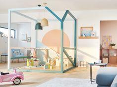 Peintures Luxens et Dulux Valentine, suspensions Loft Waterpint, structure bois en tasseaux de sapin