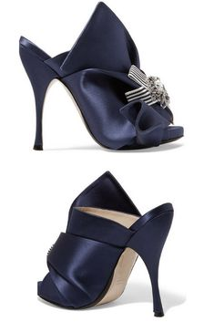 4fece42a7 Lovely Embellished Knotted Satin Mules.  mule  highheelmule  Satinheels   Navyblueheels. Navy Blue HeelsHigh HeelKitten HeelsShoes ...