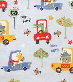 Snuggle Flannel Fabric Animal Cars