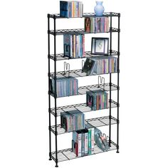 "Atlantic 8 Shelf Multimedia Storage Rack. Atlantic 8 Shelf Multimedia Storage Rack  Holds CDs, DVDs Or Vhs Tapes (Not Included) Adjustable Shelves Steel Construction Black 8 Shelves Holds 432 CDs, 228 DVDs Or 114 Vhs Tapes Dim: 48""h X 24""w X 6""d"